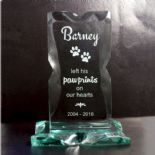Pawprints Pet Memorial Glass Plaque, ref JGPM